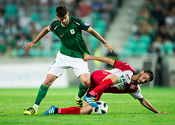 Rok Kronaveter of NK Olimpija vs Mario Lucas Horvat of NK Aluminij during football match between NK Aluminij and NK Olimpija Ljubljana in the Final of Slovenian Football Cup 2017/18, on May 30, 2018 in SRC Stozice, Ljubljana, Slovenia. Photo by Vid Ponikvar / Sportida