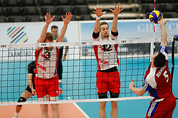 20170525 NED: 2018 FIVB Volleyball World Championship qualification, Koog aan de Zaan<br />Peter Wohlfahrstatter (3) of Austria, Alexander Berger (12) of Austria, Arnaud Maroldt (5) of Luxembourg<br />©2017-FotoHoogendoorn.nl / Pim Waslander