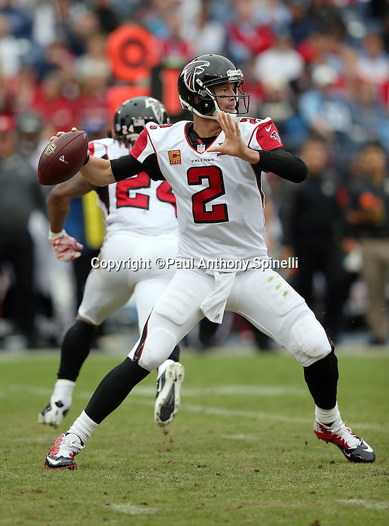 Atlanta Falcons quarterback Matt Ryan (2) throws a first quarter pass for a first down during the 2015 week 7 regular season NFL football game against the Tennessee Titans on Sunday, Oct. 25, 2015 in Nashville, Tenn. The Falcons won the game 10-7. (©Paul Anthony Spinelli)