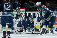 KELOWNA, CANADA - APRIL 25: Carl Stankowski #1 of the Seattle Thunderbirds makes a save against the Kelowna Rockets on April 25, 2017 at Prospera Place in Kelowna, British Columbia, Canada.  (Photo by Marissa Baecker/Shoot the Breeze)  *** Local Caption ***