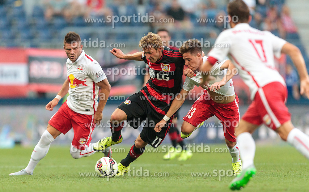 21.07.2015, Red Bull Arena, Salzburg, AUT, Testspiel, FC Red Bull Salzburg vs Bayer 04 Leverkusen, im Bild v.l.: Valon Berisha (FC Red Bull Salzburg), Stefan Kiessling (Bayer 04 Leverkusen), Michael Brandner (FC Red Bull Salzburg), Andreas Ulmer (FC Red Bull Salzburg) // during the International Friendly Football Match between FC Red Bull Salzburg and Bayer 04 Leverkusen at the Red Bull Arena in Salzburg, Austria on 2015/07/21. EXPA Pictures © 2015, PhotoCredit: EXPA/ JFK