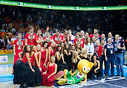 Players of third placed Russia celebrate at medal ceremony after the final basketball game between National basketball teams of Spain and France at FIBA Europe Eurobasket Lithuania 2011, on September 18, 2011, in Arena Zalgirio, Kaunas, Lithuania. Spain defeated France 98-85 and became European Champion 2011. (Photo by Vid Ponikvar / Sportida)