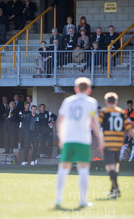 Hibernian's directors in the stand.<br /> Alloa Athletic 2 v 1 Hibernian, Scottish Championship game played 30/8/2014 at Alloa Athletic's home ground, Recreation Park, Alloa.