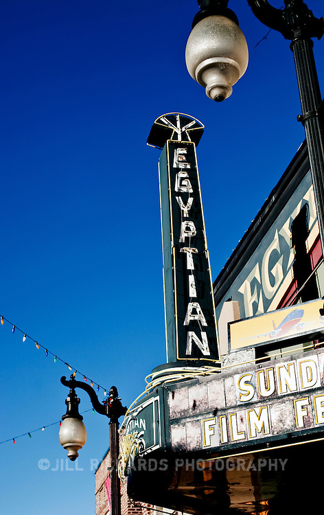 Filmmakers and movie fans flock to Main Street in Park City, Utah for the annual Sundance Film Festival, one of the nations most prestigious film festivals. Construction began on the iconic Egyptian Theatre in 1922.