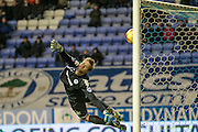 Bradley Dack (Gillingham) shoots and beats Jussi Jaaskelainen (Wigan) but not the post during the Sky Bet League 1 match between Wigan Athletic and Gillingham at the DW Stadium, Wigan, England on 7 January 2016. Photo by Mark P Doherty.