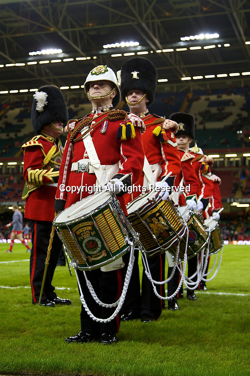 01.02.2014 Cardiff, Wales. Brass band the Six Nations game between Wales and Italy from the Millennium Stadium.