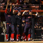 16 February 2018: San Diego State baseball opened up the season against UCSB at Tony Gwynn Stadium. The Aztecs bench erupts after the team goes up 5-0 in the second inning. The Aztecs beat the Gauchos 9-1. <br /> More game action at sdsuaztecphotos.com