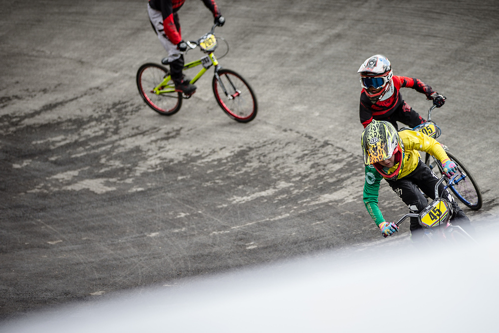#45 during practice at the 2018 UCI BMX World Championships in Baku, Azerbaijan.