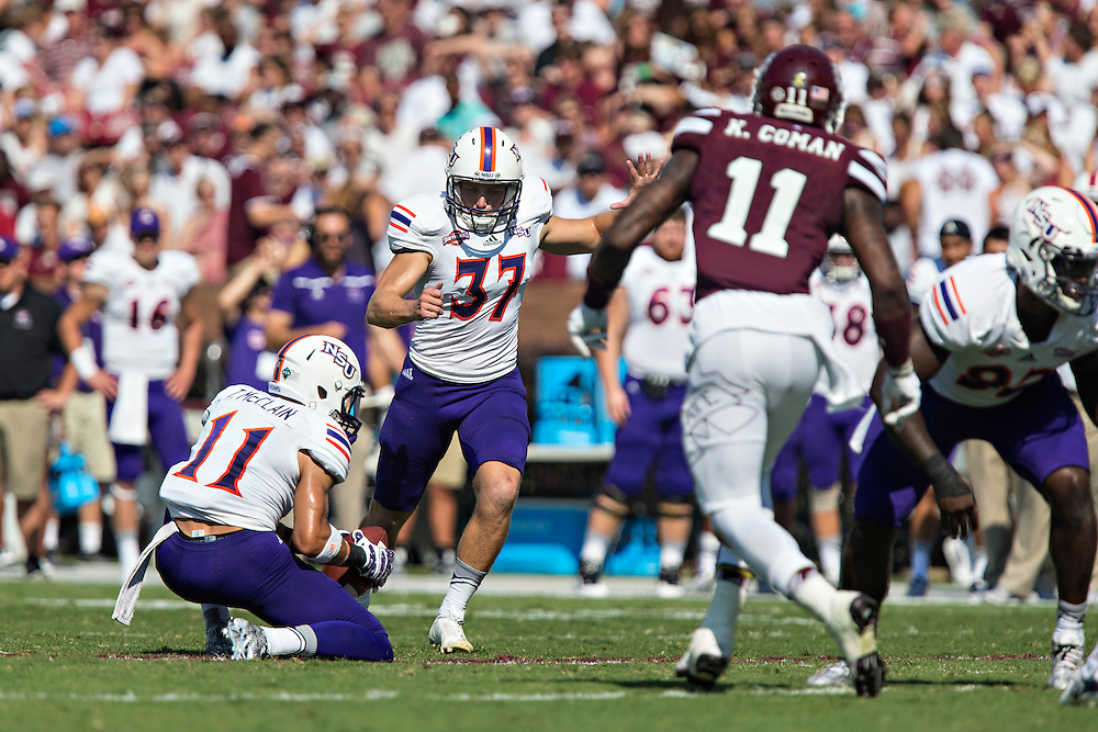 STARKVILLE, MS - SEPTEMBER 19:  Chris Moore #37 of the Northwestern State Demons kicks a field goal against the Mississippi State Bulldogs at Davis Wade Stadium on September 19, 2015 in Starkville, Mississippi.  The Bulldogs defeated the Demons 62-13.  (Photo by Wesley Hitt/Getty Images) *** Local Caption *** Chris Moore