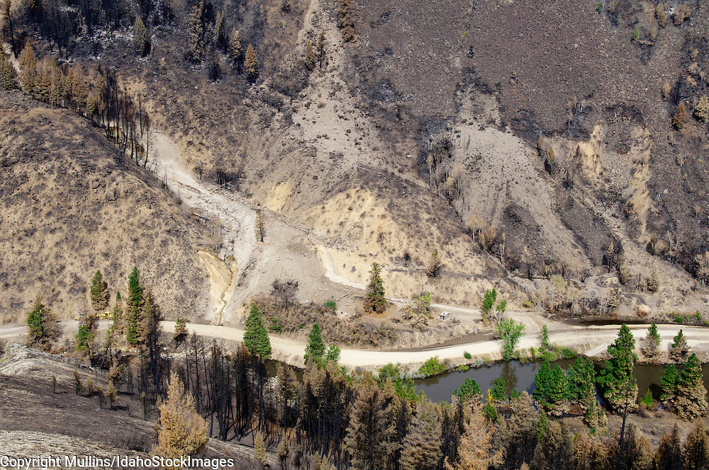 Landslides along South Fork Boise River, Idaho, after Elk Complex Fire in August 2013