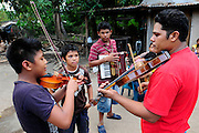 Neri Venturas Jacoba, music teacher from the Music for Hope youth project, leading a music workshop in the community of La Canoa, El Salvador.