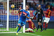 Arkadiusz Milik of SSC Napoli celebrates after scoring 2-1 goal during the Italian championship Serie A football match between AS Roma and SSC Napoli at the Olympic Stadium, Saturday, Nov. 2, 2019, in Rome. Roma defeated Napoli 2-1.(Federico Proietti/Image of Sport)