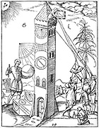 Methods of surveying (right) and time keeping (left). On the left are various different kinds of sundials and a clock with a single arm. On the right a survey is being made of the height of the tower, using quadrants and, on the far right, a cross staff. From Sebastian Munster 'Rudimenta Mathematica', Basle, 1551.  Woodcut.