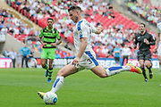 Liam Ridehalgh (Tranmere Rovers) crosses the ball into the Forest Green Rovers penalty box during the Vanarama National League Play Off Final match between Tranmere Rovers and Forest Green Rovers at Wembley Stadium, London, England on 14 May 2017. Photo by Mark P Doherty.
