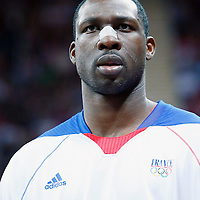 06 August 2012: France Florent Pietrus is seen on the bench during 79-73 Team France victory over Team Nigeria, during the men's basketball preliminary, at the Basketball Arena, in London, Great Britain.