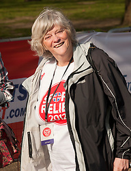 Anne Widdecombe taking part in a one mile run for Sport Relief charity in London, 25th March 2012.  Photo by: i-Images