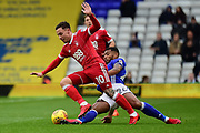Nottingham Forest midfielder Barry McKay (10)  is tackled by Birmingham City midfielder David Davis (26) during the EFL Sky Bet Championship match between Birmingham City and Nottingham Forest at St Andrews, Birmingham, England on 18 November 2017. Photo by Dennis Goodwin.
