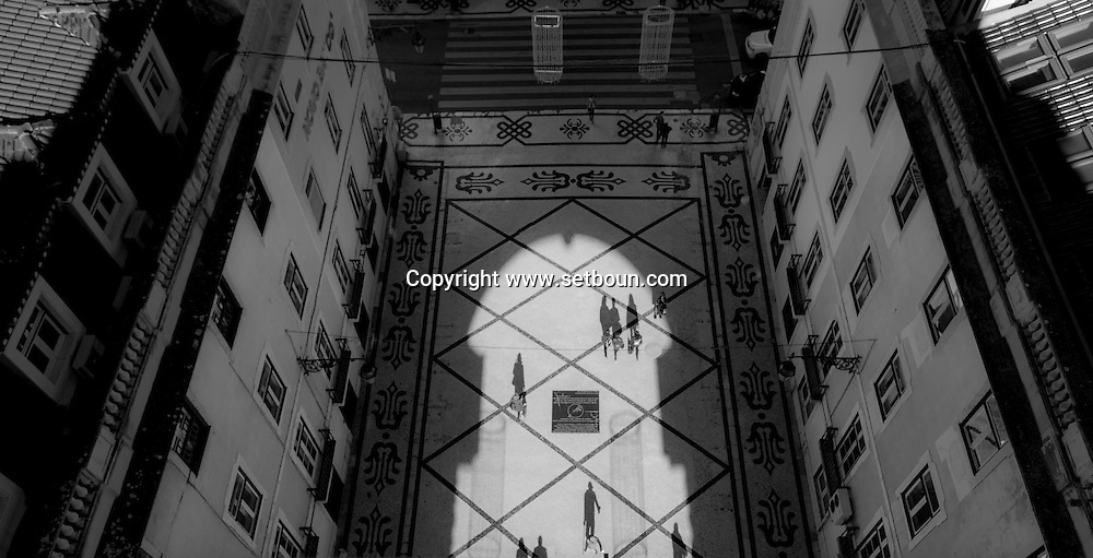 Portugal. Lisbon. elevated view on Rua Augusta. Praca do Commercio