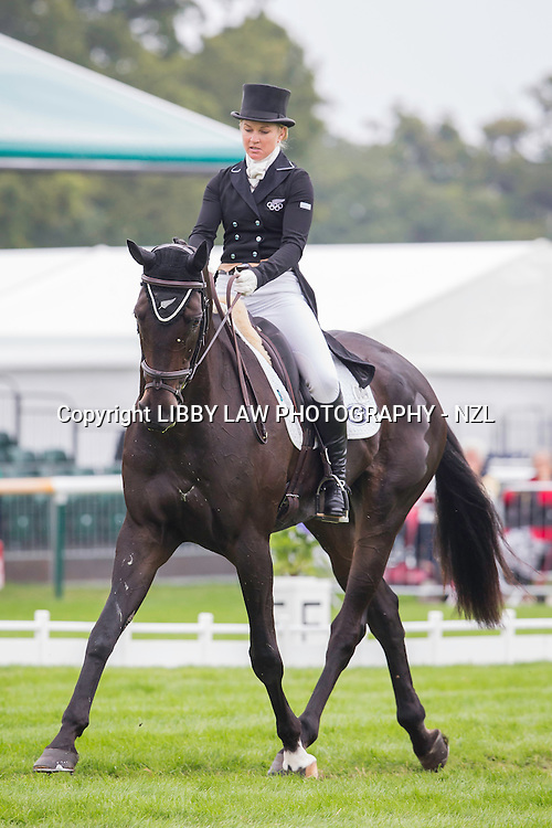 NZL-Jonelle Price (TH DEPUTY) INTERIM-28TH: SECOND DAY OF DRESSAGE: 2014 GBR-Land Rover Burghley Horse Trial (Friday 5 September) CREDIT: Libby Law COPYRIGHT: LIBBY LAW PHOTOGRAPHY - NZL