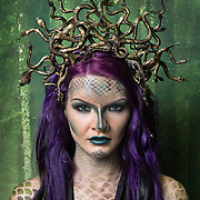 Model Kristina Blyth from Glasgow is 'Medusa' by student Michelle Burnett from Glasgow.<br /> <br /> In Greek mythology, Medusa was a monster, a Gorgon, generally described as a winged human female with living venomous snakes in place of hair. Those who gazed upon her face would turn to stone.<br /> <br />  HND Makeup Artistry students at West College Scotland, Clydebank campus present a live showcase/exhibition of their work at SWG3, Glasgow on the 2nd May 2019 which featured live models showcasing works from bodypainting and wigs to special effects/prosthetics. <br /> <br /> Picture Robert Perry  2nd May 2019<br /> <br /> Must credit photo to Robert Perry<br /> FEE PAYABLE FOR REPRO USE<br /> FEE PAYABLE FOR ALL INTERNET USE<br /> www.robertperry.co.uk<br /> NB -This image is not to be distributed without the prior consent of the copyright holder.<br /> in using this image you agree to abide by terms and conditions as stated in this caption.<br /> All monies payable to Robert Perry<br /> <br /> (PLEASE DO NOT REMOVE THIS CAPTION)<br /> This image is intended for Editorial use (e.g. news). Any commercial or promotional use requires additional clearance. <br /> Copyright 2018 All rights protected.<br /> first use only<br /> contact details<br /> Robert Perry     <br /> <br /> no internet usage without prior consent.         <br /> Robert Perry reserves the right to pursue unauthorised use of this image . If you violate my intellectual property you may be liable for  damages, loss of income, and profits you derive from the use of this image.