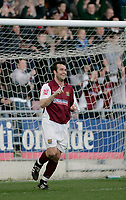 Photo: Marc Atkins.<br /> Northampton Town v Stockport County. Coca Cola League 2. 17/04/2006. <br /> Scott McGliesh celebrates his second of the game.