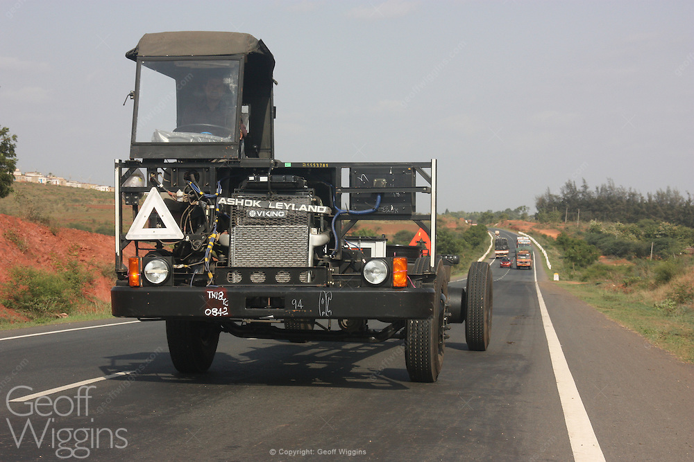 Indian Ashok Leyland Viking truck chassis on route from factory on National Highway 4 Karnataka, India