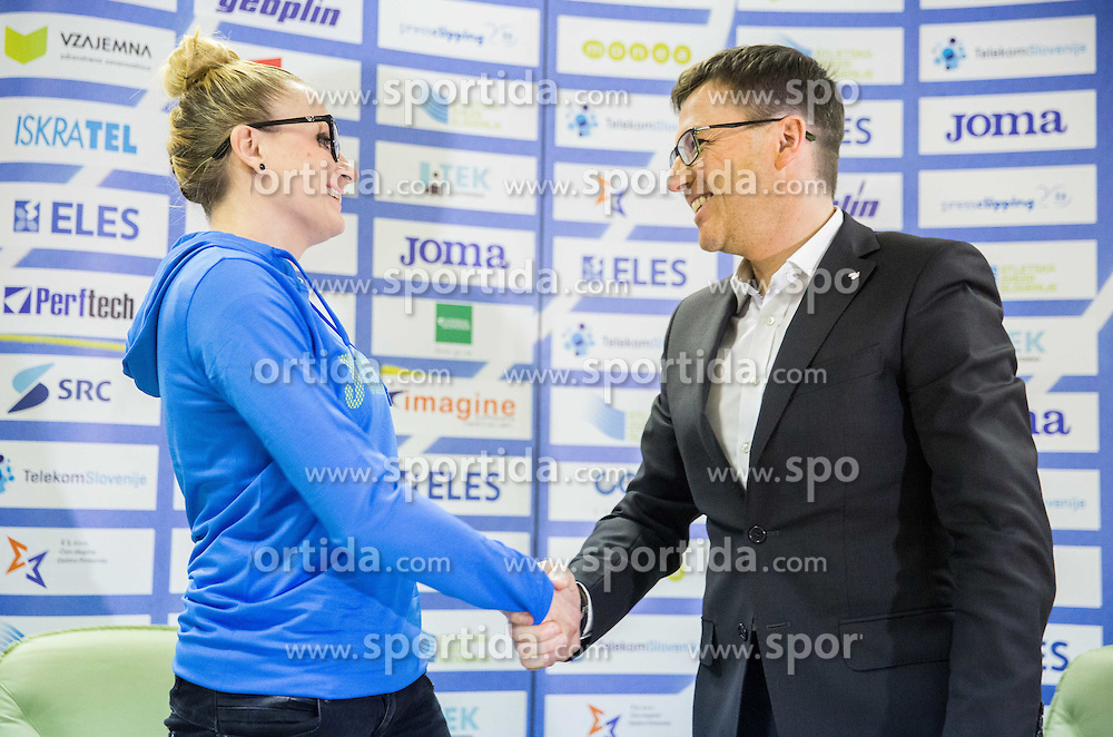 Sabina Veit and Roman Dobnikar, new president of AZS during press conference when Slovenian athletes and their coaches sign contracts with Athletic federation of Slovenia for year 2016, on February 25, 2016 in AZS, Ljubljana, Slovenia. Photo by Vid Ponikvar / Sportida