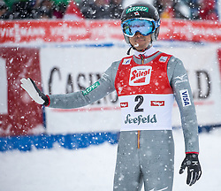 31.01.2016, Casino Arena, Seefeld, AUT, FIS Weltcup Nordische Kombination, Seefeld Triple, Skisprung, Wertungssprung, im Bild Akito Watabe (JPN) // Akito Watabe of Japan reacts after his Competition Jump of Skijumping of the FIS Nordic Combined World Cup Seefeld Triple at the Casino Arena in Seefeld, Austria on 2016/01/31. EXPA Pictures © 2016, PhotoCredit: EXPA/ Jakob Gruber