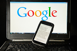 A Google search removal request displayed on the screen of a smart phone, after Google was forced by European law to allow members of the public to apply to have old or outdated internet search data about themselves deleted.