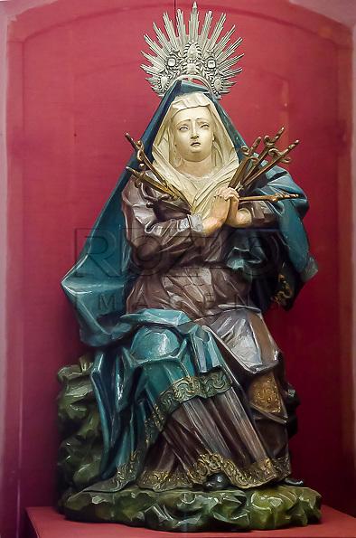 Nossa Senhora das Dores. Aleijadinho, século XVIII, madeira policromada. Acervo do Museu de Arte Sacra de São Paulo, São Paulo - SP, 02/2013.
