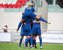 LLANELLI, WALES - Wednesday, August 28, 2013: France players celebrate after Kadidiatou Diani [9] scores the second goal against Germany during the Semi-Final match of the UEFA Women's Under-19 Championship Wales 2013 tournament at Parc y Scarlets. (Pic by David Rawcliffe/Propaganda)