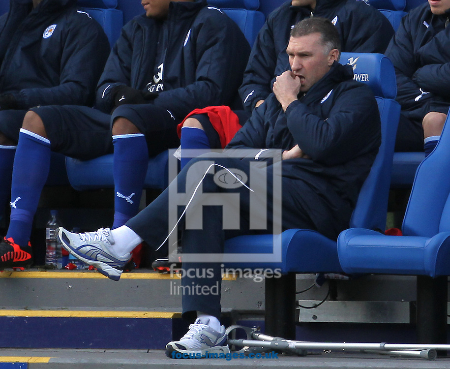 Picture by Daniel Weir/Focus Images Ltd +44 7982 911743.27/10/2012.Nigel Pearson manager of Leicester City looks worried at his teams display after going 2-0 down against Crystal Palace during the npower Championship match at the King Power Stadium, Leicester.