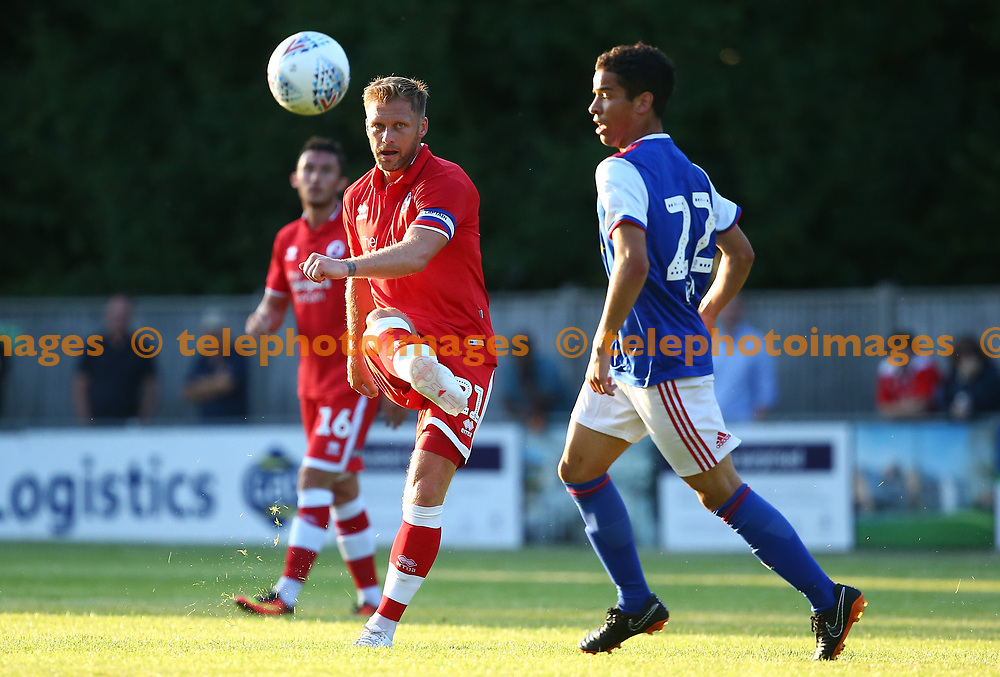 Crawley's Dannie Bulman during the pre season friendly between Crawley Town and Ipswich Town at East Court, East Grinstead, UK. 17 July 2018.