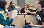 Jayme Feldman (left to right), Jazmine Tero, Leah Vincent and Robert Sampson talk together in a break-out group during an academic honesty workshop in Stocker on Wednesday, 11/1/06.