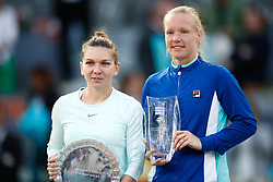May 11, 2019 - Madrid, MADRID, SPAIN - Simona Halep (ROU) and Kiki Bertens (NED) during the Mutua Madrid Open 2019 (ATP Masters 1000 and WTA Premier) tenis tournament at Caja Magica in Madrid, Spain, on May 11, 2019. (Credit Image: © AFP7 via ZUMA Wire)
