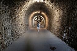 THEMENBILD - Eine Ansicht des Tunnels der Parenzana von der Slowenischen Stadt Portoroz in Istrien nach Strunjan, aufgenommen am 07. September 2016 // THEMES PICTURE - a tunnel of the Parenzana is leading from the Slovenian city of Piran in Istria to the city of Strunjan on 7 September 2016. EXPA Pictures © 2016, PhotoCredit: EXPA/ Erwin Scheriau