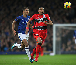 Dominic Calvert-Lewin of Everton (L) and Mathias Zanka Jorgensen of Huddersfield Town in action - Mandatory by-line: Jack Phillips/JMP - 02/12/2017 - FOOTBALL - Goodison Park - Liverpool, England - Everton v Huddersfield Town - English Premier League