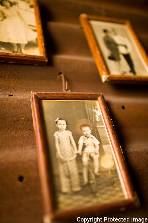 family pictures adorn the walls of Moon Tree Cafe