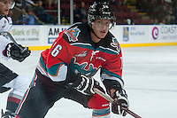 KELOWNA, CANADA - OCTOBER 1: Kris Schmidli #16 of Kelowna Rockets skates against the Vancouver Giants on October 1, 2014 at Prospera Place in Kelowna, British Columbia, Canada.   (Photo by Marissa Baecker/Shoot the Breeze)  *** Local Caption *** Kris Schmidli;
