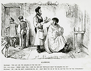 'Barber alarming a client by suggesting that Cholera is in the Hair. Cartoon from ''Punch'', London, c1849.'