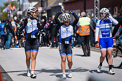 Do a little dance: Emilie Moberg and Julie Leth in a party mood at Omloop van Borsele 2016. A 139 km road race starting and finishing in 's-Heerenhoek, Netherlands on 23rd April 2016.
