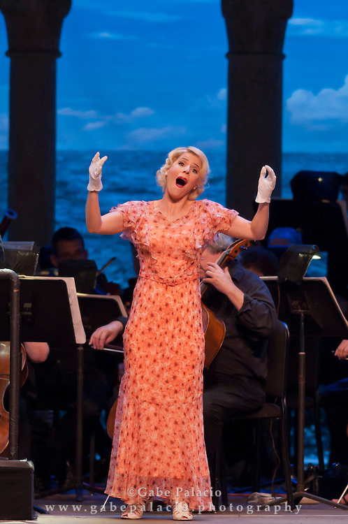 Georgia Jarman, soprano, in the role of Josephine, during the performance of HMS Pinafore, a Bel Canto at Caramoor performance in the Venetian Theater of Caramoor in Katonah New York..photo by Gabe Palacio
