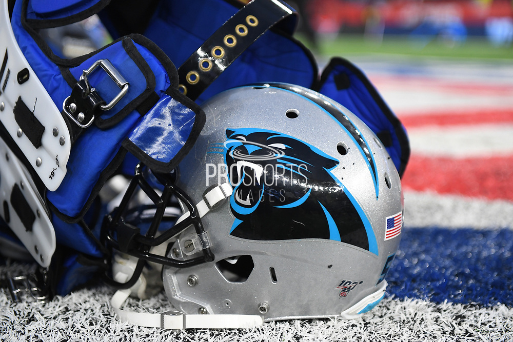A Carolina Panthers helmet and pads lay on the pitch during the International Series match between Tampa Bay Buccaneers and Carolina Panthers at Tottenham Hotspur Stadium, London, United Kingdom on 13 October 2019.