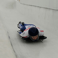 27 February 2007:  Donna Creighton of Great Britain slides through curve 13 in the 4th run at the Women's Skeleton World Championships competition on February 27 at the Olympic Sports Complex in Lake Placid, NY.