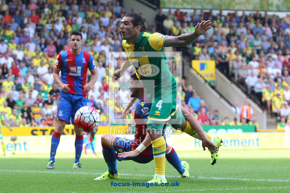 Bradley Johnson of Norwich narrowly misses during the Barclays Premier League match at Carrow Road, Norwich<br /> Picture by Paul Chesterton/Focus Images Ltd +44 7904 640267<br /> 08/08/2015