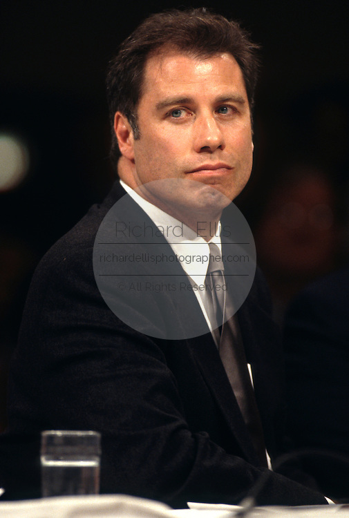 Actor John Travolta speaks in support of Scientology during testimony in Congress September 18, 1997 in Washington, DC.