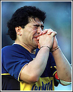 Argentine football legend Diego Maradona is overcome with emotion during an event  in his honor at La Bomobonera stadium in Buenos Aires, Argentina, on November 10, 2001. (Alejandro PAGNI/PHOTOXPHOTO)