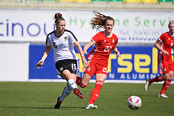 LARNACA, CYPRUS - Wednesday, March 7, 2018: Wales' Gwennan Davies and Austria's Nicole Billa during the Cyprus Women's Cup match between Austria and Wales on day nine of the Cyprus Cup tournament at the AEK Arena - Georgios Karapatakis. (Pic by David Rawcliffe/Propaganda)