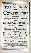 Title page 'Two Treatises of Government: ' John Locke, 2nd edition 1694, First, attack on Divine Right of Kings; Second, dealing with Rights of Man.  Locke, English philosopher, Father of Liberalismand influential Enlightenment thinker.