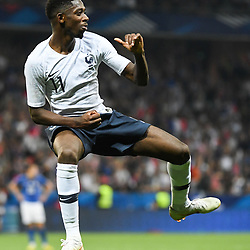 Ousmane Dembele of France celebrates during the International Friendly match between France and Italy at Allianz Riviera Stadium on June 1, 2018 in Nice, France. (Photo by Anthony Dibon/Icon Sport)